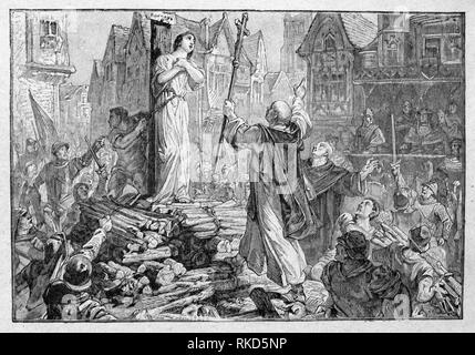 France. Jeanne d´Arc burnt at Rouen. Joan of Arc (French: Jeanne d'Arc, 6 January c. 1412 - 30 May 1431), nicknamed ''The Maid of Orléans'' (French: - Stock Photo
