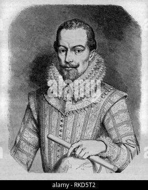 Walter Raleigh. Sir Walter Raleigh (circa 1554 - 29 October 1618) was an English landed gentleman, writer, poet, soldier, politician, courtier, spy - Stock Photo