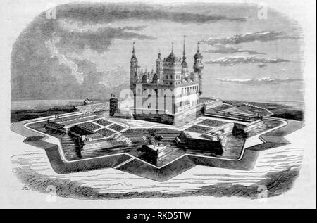Denmark. Kronborg (Drawing 1843). Kronborg is a castle and stronghold in the town of Helsingør, Denmark. Immortalized as Elsinore in William - Stock Photo