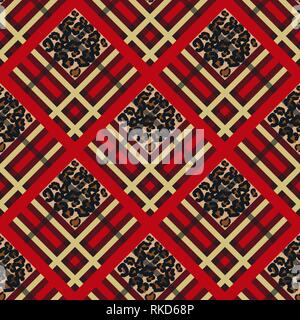 Scottish red tartan grunge seamless pattern with leopard spots eps 10 - Stock Photo