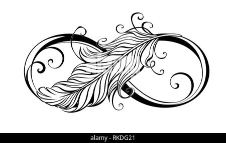Contour, artistically drawn infinity symbol with light feather on white background. - Stock Photo