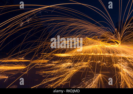 Steel wool long exposure photograph at night, photography workshop - Stock Photo