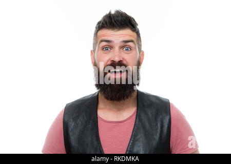 Male barber care. surprised man hipster. Mature hipster with beard. Bearded man. Hair and beard care. brutal caucasian hipster with moustache. Facial care. Young and brutal. Enjoying morning routine. - Stock Photo