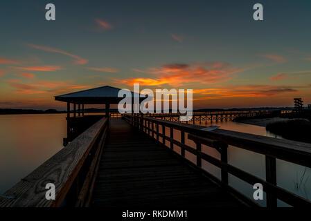 Sunset at Port Royal Boardwalk - Stock Photo