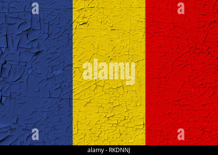 Chad painted flag. Patriotic old grunge background. National flag of Chad - Stock Photo