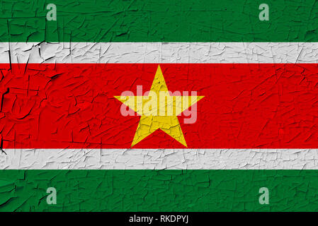 Suriname painted flag. Patriotic old grunge background. National flag of Suriname - Stock Photo