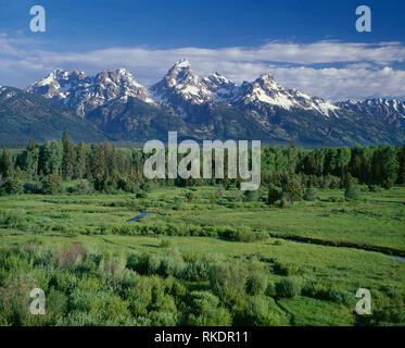 USA, Wyoming, Grand Teton National Park, Teton Range rises above lush, riparian area near Snake River, from Blacktail Ponds Overlook. - Stock Photo
