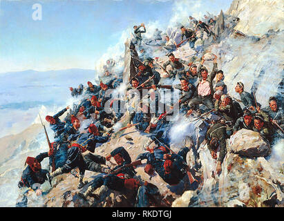 The Battle of Shipka Pass in August 1877, during the Russo-Turkish War (1877-1878). - Stock Photo