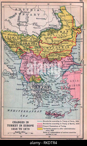 Map of Changes in Turkey in Europe 1856 to 1878 - Balkan changes after the Crimean War Stock Photo