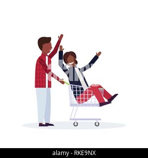 man carrying trolley cart with woman happy african american couple having fun supermarket shopping concept male female cartoon characters full length - Stock Photo