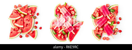 Popsicles, sliced watermelon, mint leaves and strawberry fruit berry collection isolated on white background. Top view, flat lay. Design elements - Stock Photo