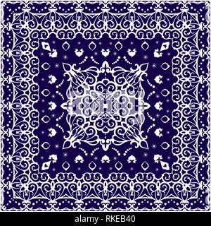 Square white pattern on a blue background. Decorative ornament to the handkerchief. Vector illustration. - Stock Photo