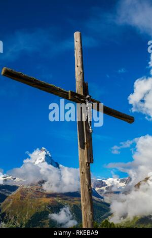 View of Matterhorn mountain peak (Cervino mountain peak) from Klein Matterhorn. Zermatt. Swiss Alps. Valais. Switzerland. Europe. - Stock Photo