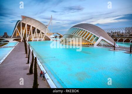 In the foreground Hemisferic. In the background Principe Felipe Science Museum. City of Arts and Sciences.Architect Santiago Calatrava. Valencia. - Stock Photo