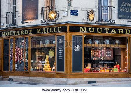 Moutarde Maille shop Dijon Cote-d'Or Bourgogne-Franche-Comte France. - Stock Photo