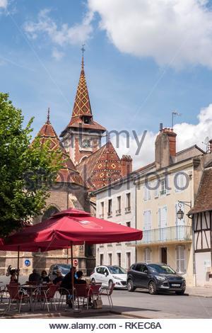 Louhans square with Roof of the church St Pierre de Louhans Louhans Saone-et-Loire Bourgogne-Franche-Comte France. - Stock Photo