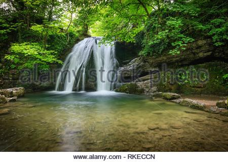 Janets Foss Waterfall Malham Craven North Yorkshire England. - Stock Photo