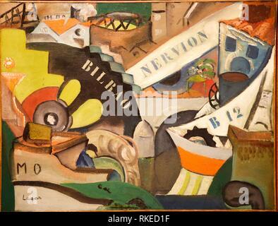 Celso Lagar, The Port of Bilbao, 1917-1918, Museo de Bellas Artes, Fine Arts Museum, Bilbao, Bizkaia, Euskadi, Spain, Europe - Stock Photo