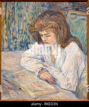 Henri de Toulouse-Lautrec, La Liseuse, Young Girl Reading, 1889, Alicia Koplowitz Collection, Museo de Bellas Artes, Fine Arts Museum, Bilbao, - Stock Photo