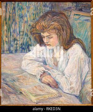Henri de Toulouse-Lautrec, La Liseuse, Young Girl Reading, 1889, Alicia Koplowitz Collection, Museo de Bellas Artes, Fine Arts Museum, Bilbao, - Stock Photo