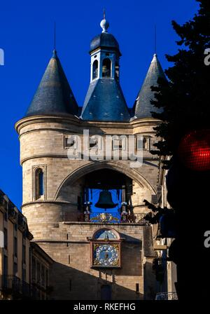 France, Nouvelle Aquitaine, Gironde, ''Grosse Cloche'' on Saint Eloï's gate at Bordeaux. - Stock Photo