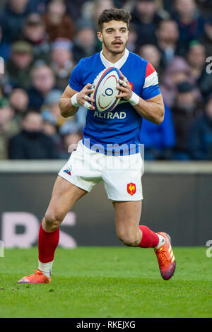 Twickenham, United Kingdom. 7th February, Romain NTAMACK, England vs France, 2019 Guinness Six Nations Rugby Match   played at  the  RFU Stadium, Twickenham, England,  © PeterSPURRIER: Intersport Images - Stock Photo