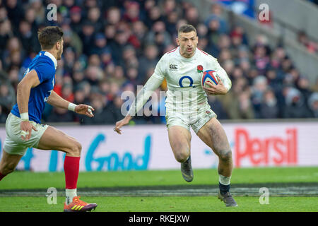 Twickenham, United Kingdom. 7th February, Jonny MAY, England vs France, 2019 Guinness Six Nations Rugby Match   played at  the  RFU Stadium, Twickenham, England,  © PeterSPURRIER: Intersport Images - Stock Photo