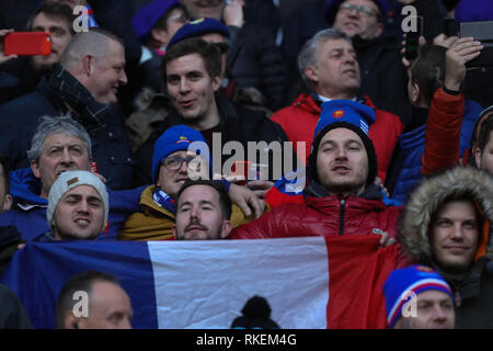 London, UK. 10th Feb, 2019. Supporters France during the Six Nations 2019 rugby union match between England and France on February 10, 2019 at Twickenham Stadium in London, England - Photo Laurent Lairys / DPPI Credit: Laurent Lairys/Agence Locevaphotos/Alamy Live News - Stock Photo