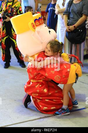 (190211) -- CANBERRA, Feb. 11, 2019 (Xinhua) -- An Australian girl hugs with a mascot representing the Year of the Pig in China's lunar calendar during an international day at Old Bus Depot Markets in Canberra, Australia, on Feb. 10, 2019. The old bus depot in Kingston of Australia's capital Canberra stopped housing buses more than three decades ago. On each Sunday, however, it is still bustling with visitors. It is now the Old Bus Depot Markets, one of the most popular markets in Australia. After the Chinese Lunar New Year, it witnessed an international day that brought visitors to differ - Stock Photo
