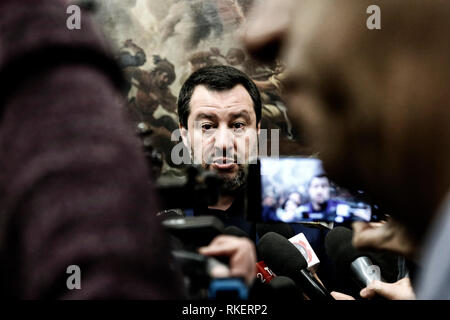 Roma, Italy. 11th Feb, 2019. Matteo Salvini Rome February 11th 2019. Sala Salvadori. The Italyn Minister of Internal Affairs in press conference after the outcome of regional elections in Abruzzo. Foto Samantha Zucchi Insidefoto Credit: insidefoto srl/Alamy Live News - Stock Photo