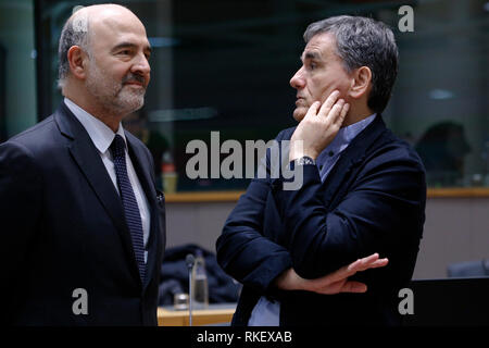 Brussels, Belgium. 11th Feb. 2019. European Commissioner Pierre MOSCOVICI arrives to attend in an Economic and Financial (ECOFIN) Affairs Council meeting. Alexandros Michailidis/Alamy Live News - Stock Photo