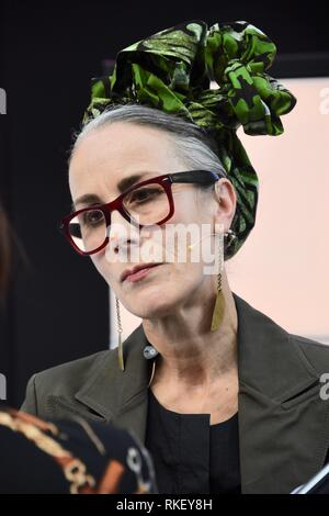11th February, 2019. Caryn Franklin MBE,Discussion 'Let's Talk:How I want fashion to be presented to me'Pure London, Olympia, London.UK Credit: michael melia/Alamy Live News - Stock Photo