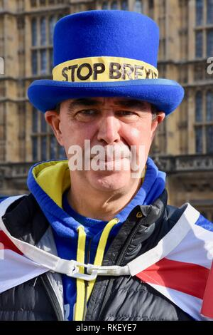 London, UK. 11th Feb, 2019. Steve Bray,Anti Brexit Protest,Houses of Parliament,Westminster,London.UK Credit: michael melia/Alamy Live News - Stock Photo