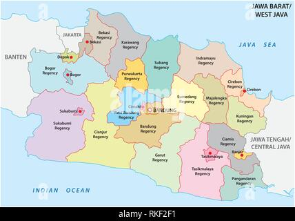 Jawa Barat, West Java administrative and political vector map, Indonesia - Stock Photo