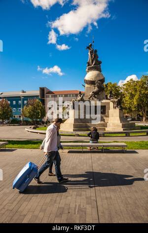Christopher Columbus Monument at Colon Square, Valladolid, Castilla y Leon, Spain - Stock Photo