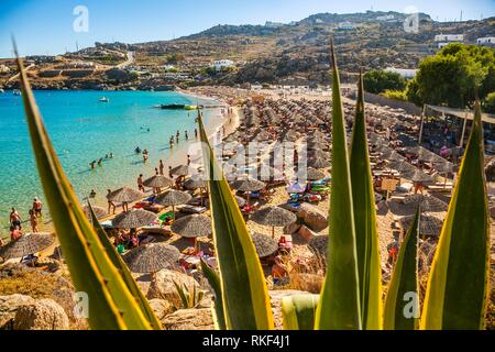 Super Paradise Beach. Mykonos Island. Ciclades Islands. Greece. - Stock Photo