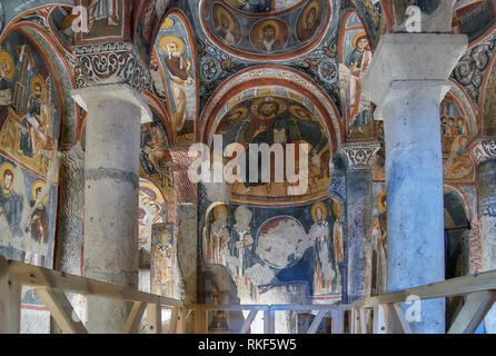 Goreme, Turkey - July 29, 2007: Ceiling frescos in Karanlik Kilise, Dark church in Cappadocia. This cave church built in 11th century, and located in  - Stock Photo