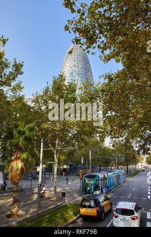 Agbar Tower, Diagonal avenue, Barcelona, Catalunya, Spain, Europe - Stock Photo