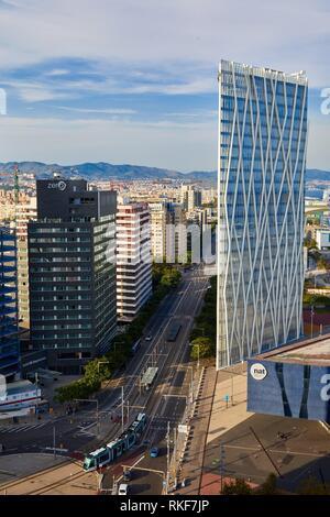 Telefonica building, Forum, Barcelona, Catalunya, Spain, Europe - Stock Photo