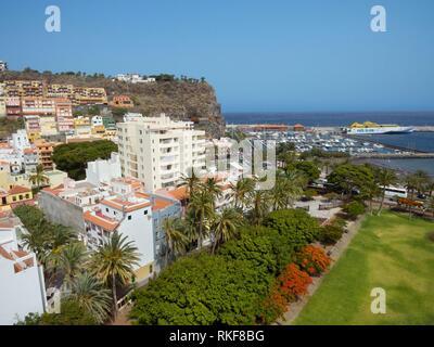 Aerial view of San Sebastian de la Gomera cityscape and harbor in La Gomera, Canary island, Spain. - Stock Photo