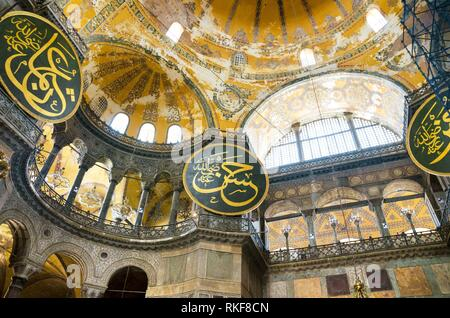 Interior of Hagia Sofia in Istanbul, Turkey. Hagia Sophia is a former Greek Orthodox patriarchal basilica, later an imperial mosque, and now a museum - Stock Photo