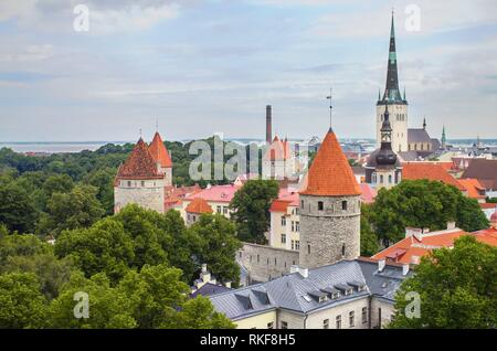 Aerial view of the old medieval city of Tallinn, Estonia. - Stock Photo