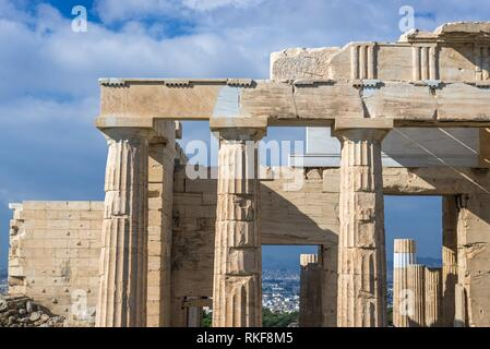 Facade of monumental gateway called Propylaea, entrance to the top of Acropolis of Athens city, Greece. - Stock Photo