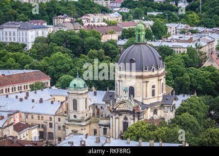 Corpus Christi Dominican Church and monastery seen from tower of Town Hall on the Old Town of Lviv city, Ukraine. - Stock Photo