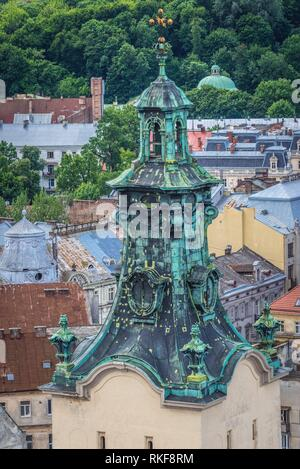 Archcathedral Basilica of the Assumption of the Blessed Virgin Mary, simply known as Latin Cathedral on the Old Town of Lviv city in Ukraine. Stock Photo