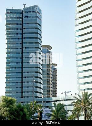 Modern buildings on the Diagonal Mar in Barcelona, Spain. - Stock Photo