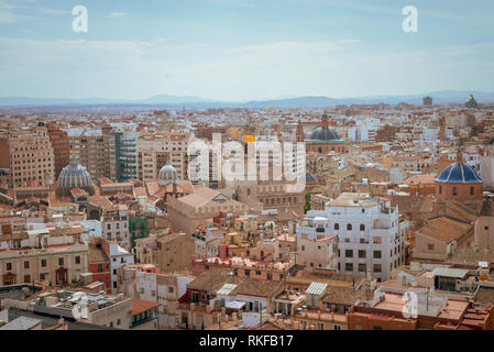 An aerial view of the city of Valencia from the top of the El Miguelete, the bell tower of the Valencia Cathedral, in Valencia, Spain. - Stock Photo