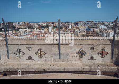 The view of the city from the top of the El Miguelete, the bell tower of the Valencia Cathedral in Valencia, Spain. - Stock Photo