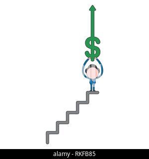 Vector illustration businessman character holding up dollar arrow moving up on top of stairs. Color and black outlines. - Stock Photo