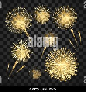 Yellow Festival fireworks. Colorful carnival fireworks holiday background. Vector illustration isolated on dark background - Stock Photo